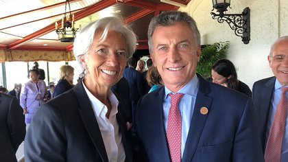 Mauricio Macri y Christine Lagarde, el fin de semana pasado en al cumbre del G7