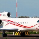 El avión Dessault Falcon 900LX de una empresa turca que traslada a cinco pasajeros de Venezuela hacia Buenos Aires (Crédito @Jetfotos)
