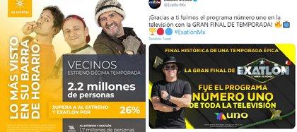 """Mientras que Televisa presumió haber tenido un mayor alcance con el estreno de """"Vecinos"""", TV Azteca festejó que """"Exatlón"""" fue el programa número uno de México (Foto: Twitter / @Televisa_Prensa @ExatlonMx)"""