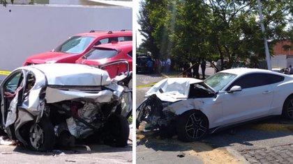 El automóvil donde viajaban las dos personas que perdieron la vida (izquierda) y el vehículo que presuntamente manejaba Maleck (Foto: Especial)