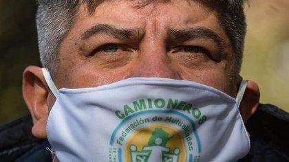 Pablo Moyano, con tapabocas de Camioneros (Adrián Escandar)
