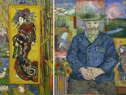 """""""Cortesana al estilo de Eisen"""" y """"Retrato de Père Tanguy"""", de Vincent Van Gogh"""