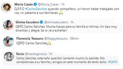 Moria Casán, Silvina Escudero, Florencia Tesouro y Rocío Marengo mostraron su pesar por la muerte de Carlos Sánchez (Twitter)