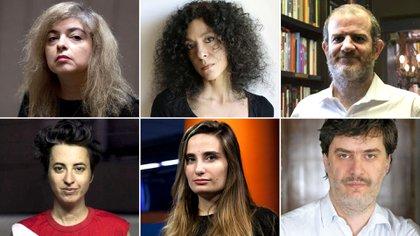 Arriba: Mariana Enríquez, Leila Guerriero y Santiago Llach. Abajo: Silvina Giaganti, Tamara Tenenbaum y Matías Rivas
