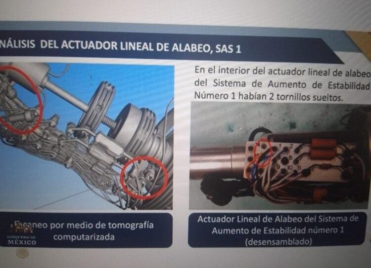 Imagen del actuador lineal del alabeo. (Fotos: Gobierno de México)