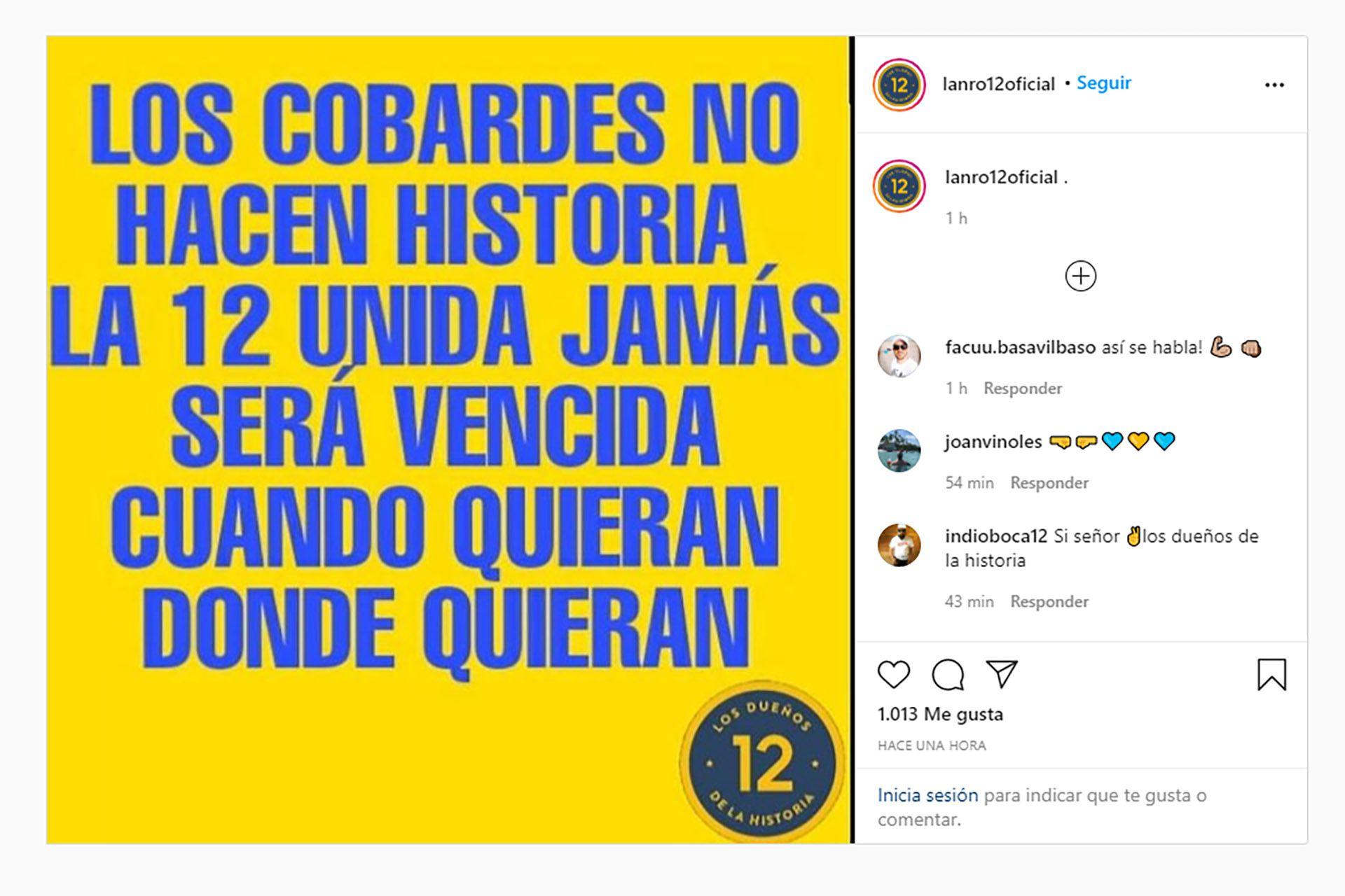 La Amenaza de la facción oficial de la Doce en Boca
