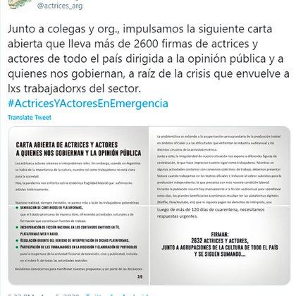 El comunicado de Actrices Argentinas (Foto: Twitter)