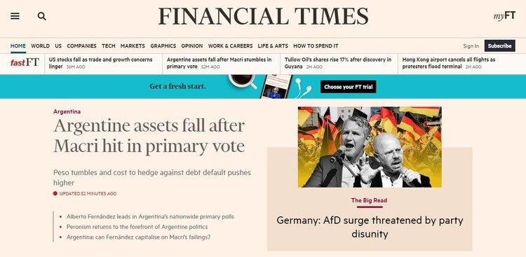 """Para el Financial Times los activos caen tras el """"golpe a Macri en las primarias"""""""