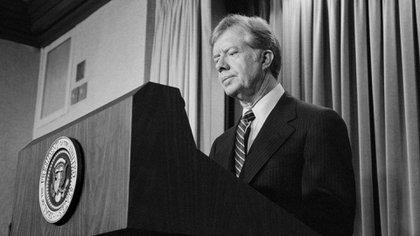 Il presidente Jimmy Carter ha annunciato il 7 aprile 1980, nuove sanzioni contro l'Iran come rappresaglia per prendere in ostaggi dagli Stati Uniti (foto: Glasshouse Immagini /)