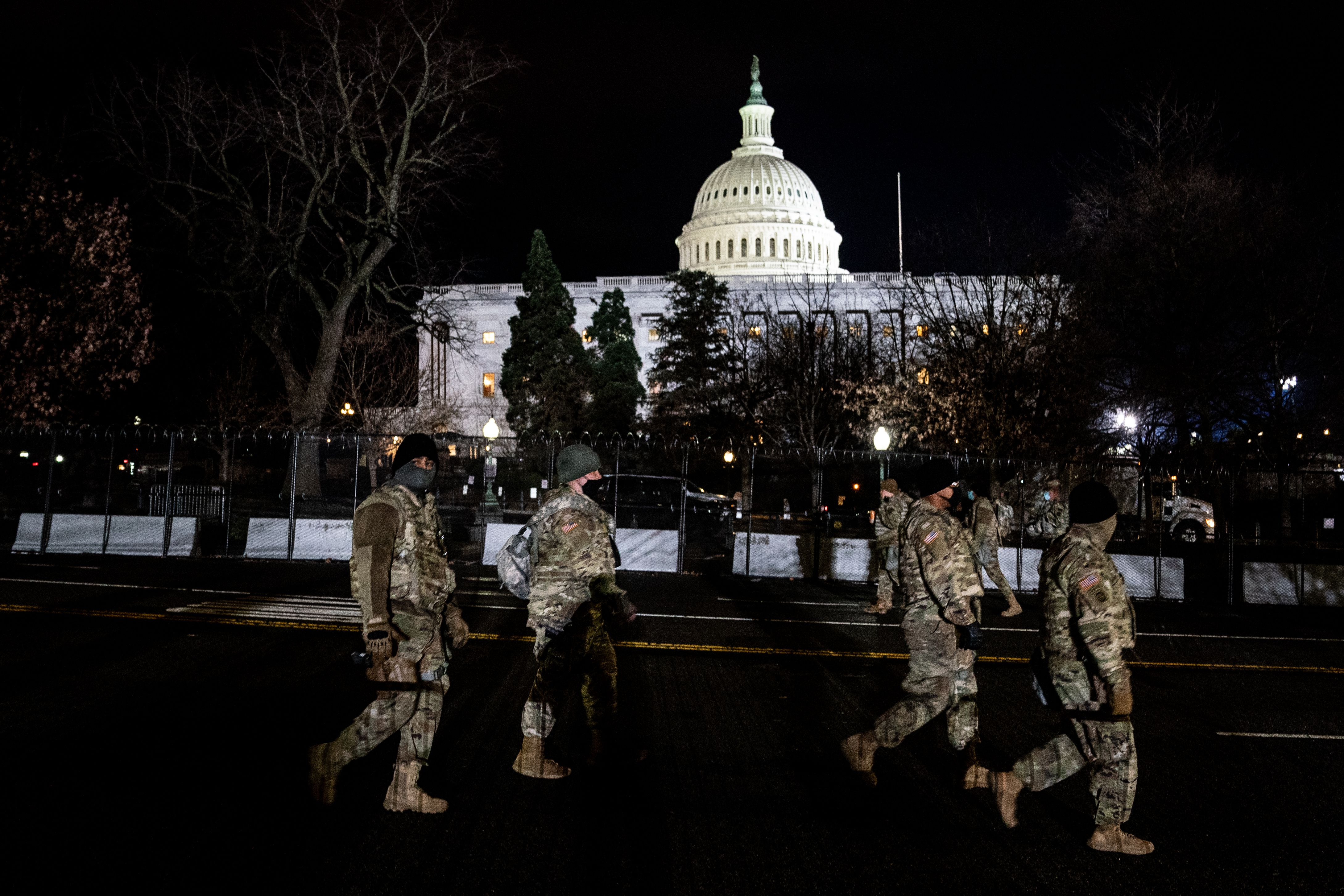 January 20, 2021 - Washington, DC, United States: National Guard stand guard outside the Capitol on Inauguration Day in Washington, DC on January 20, 2021. (Erin Schaff  Europa Press) *** Local Caption *** 07051702