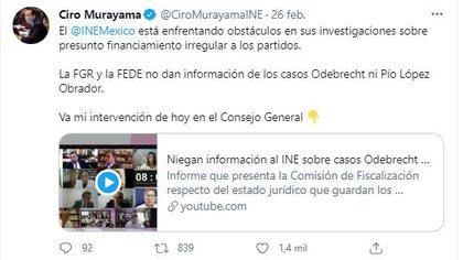 Ciro Murayama denunció el bloqueo de la información (Foto: Twitter)