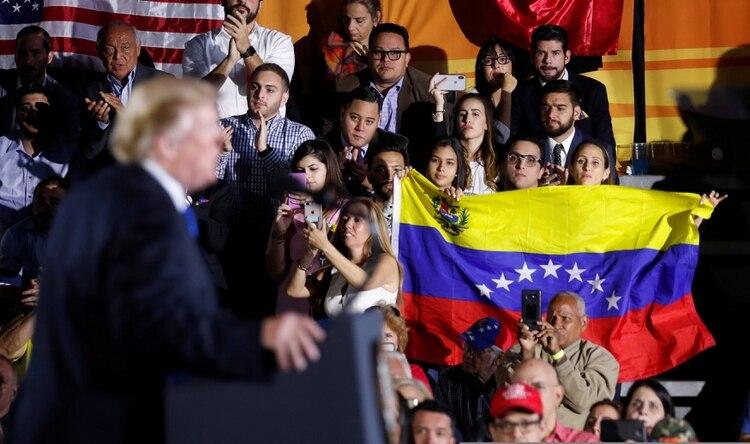 Trump en un mitin con venezolanos en el estado de la Florida.