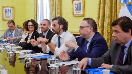 Santiago Cafiero junto a los ministros Kulfas, Moroni y Guzmán. (Presidencia)
