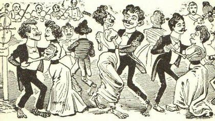 """Los grabados de José Guadalupe Posadas acompañaron las publicaciones de la época sobre """"El baile de los 41""""."""