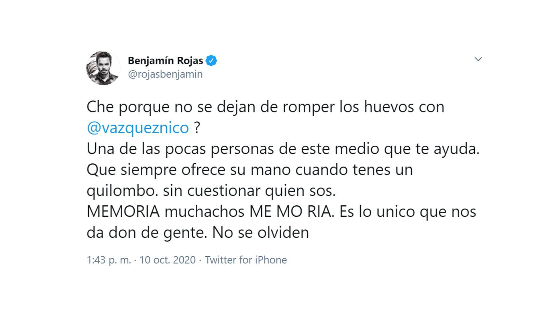 tuit de Benjamín Rojas por el escándalo de Casi Ángeles