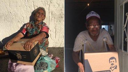 Alejandrina Guzmán repartió despensas en la zona metropolitana de Guadalajara en abril pasado con las imágenes su padre El Chapo Guzmán (Foto: Facebook/El Chapo Guzmán)