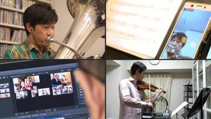 Unos sesenta músicos de la Nueva Orquesta Filarmónica de Tokio afinan sus instrumentos antes de una inédito y salvador concierto: una versión musical del teletrabajo, impuesta por la pandemia del coronavirus