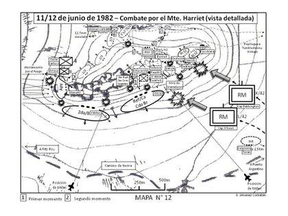 """Croquis del combate en Monte Harriet, en la ladera sur, donde estaba la Sección Olvidada. En el centro está señalizada como """"sección Oliva"""""""