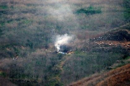 El lugar del accidente aéreo en el que murió Kobe Bryant (Reuters)