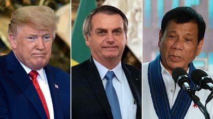 Donald Trump, Jair Bolsonaro y Rodrigo Duterte