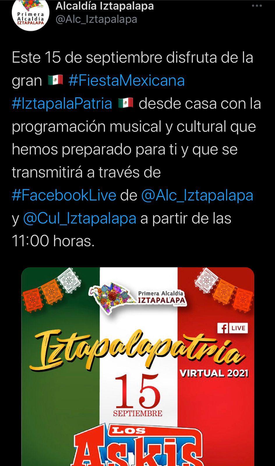 Tuit Alcandía Iztapalapa 13-09-21
