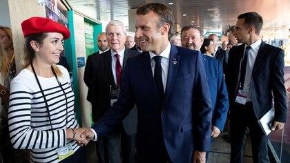 El presidente de Francia, Emmanuel Macron, en su llegada a la cumbre (Reuters)