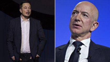 Elon Musk y Jeff Bezos, creadores de SpaceX y Blue Origin