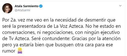 La reacción de Atala a su supuesto regreso a TV Azteca para conducir La Voz