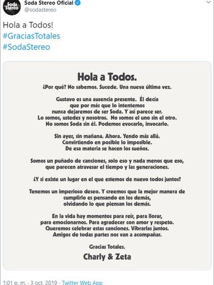El comunicado de Soda Stereo anunciando el regreso del grupo (Twitter)