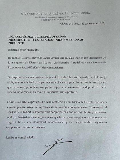 La contestación de Zaldívar a López Obrador (Foto: Cortesía CJF)