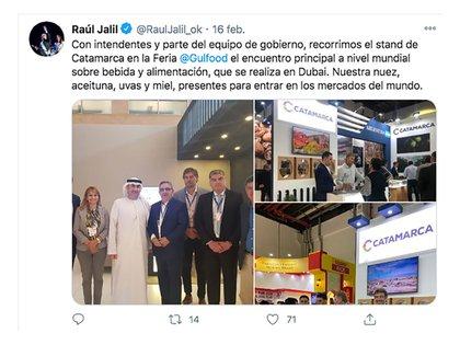 Cuenta de Twitter del gobernador Jalil promocionando la participación de Catamarca en la feria de alimentos de Dubai en febrero de este año