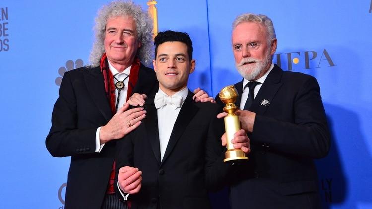 Roger Taylor, Brian May y Rami Malek en los Globos de Oro 2019