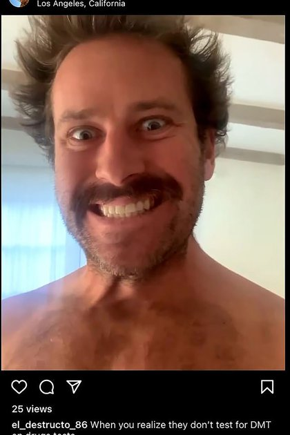 The Daily Mail newspaper published videos and photos of an alleged secret account that Armie Hammer has (Instagram)