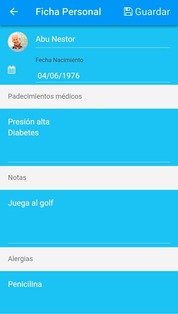 Dentro del perfil se pueden añadir datos sobre la salud de la persona