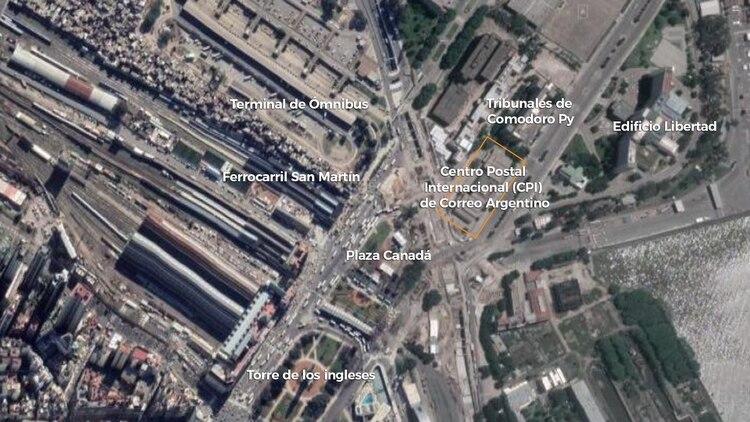 Una imagen aérea del Centro Postal Internacional (CPI) de Correo Argentino (Google)