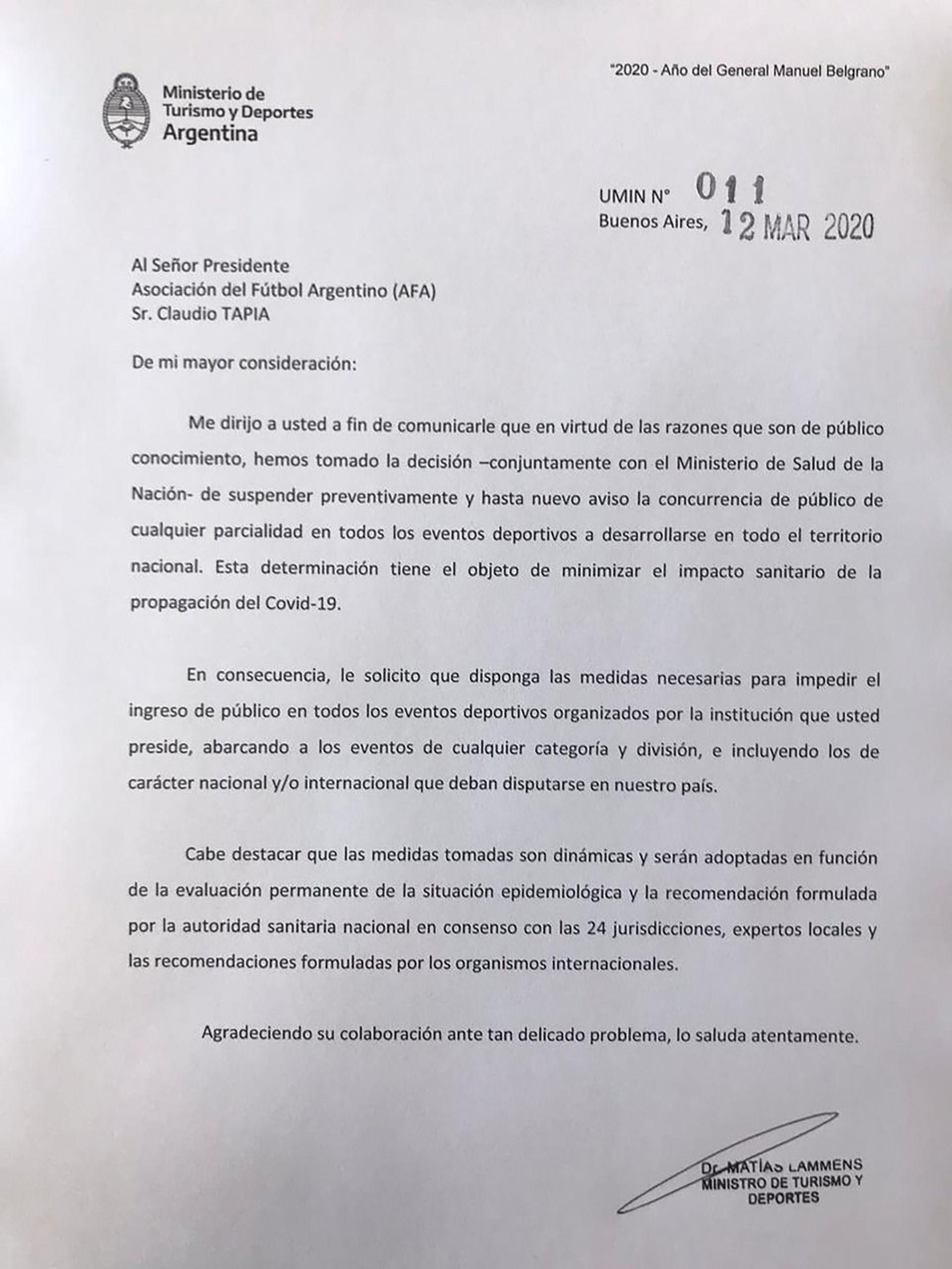 La carta que llegó a la AFA