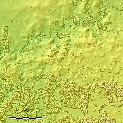 Takeshi Inomata, un arqueólogo de la Universidad de Arizona, ha utilizado mapas lidar de dominio público para identificar las ruinas de 27 centros ceremoniales mayas previamente desconocidos. (Instituto Nacional de Estadística y Geografía/Nacional Center for Airborne Laser Mapping via The New York Times)