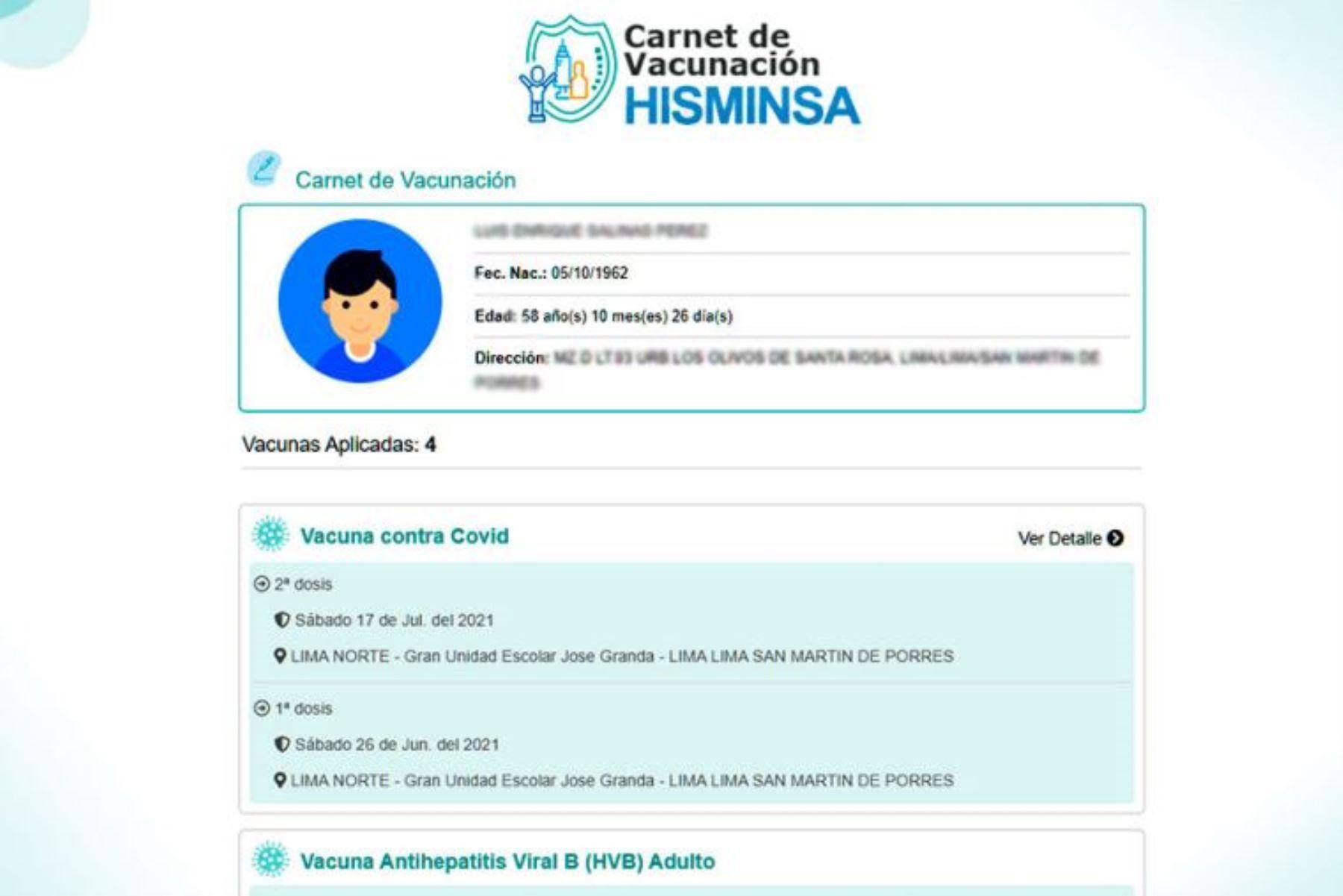 Pasos para el carné de vacunación