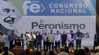 El presidente estuvo acompañado por gran parte del Gabinete (Télam)