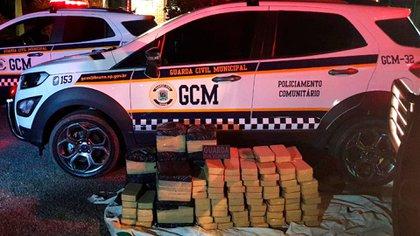 El cargamento de cocaína que transportaba el helicóptero (GCM/Divulgação)
