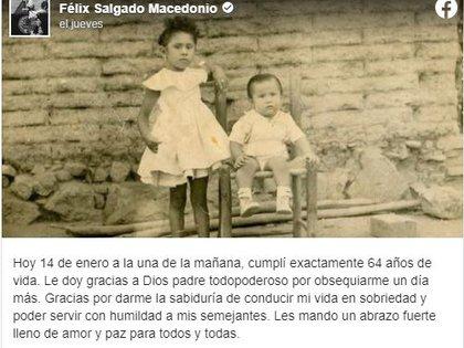 Salgado Macedonio agradeció por su vida sobria y humilde (Foto: Facebook)