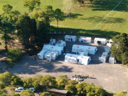 Imagen aérea del hospital de campaña de Campo de Mayo