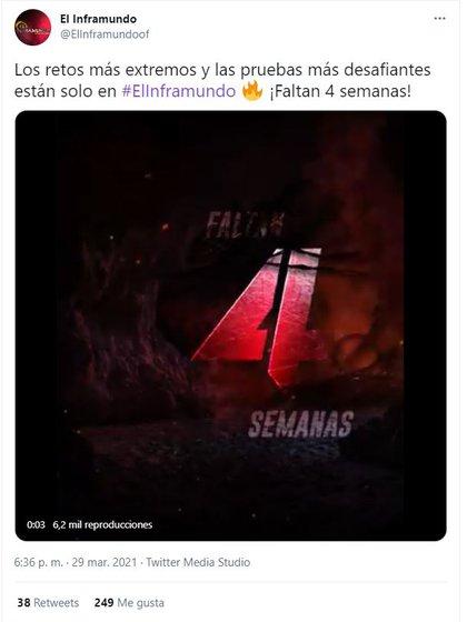 Uno de los tuits de la cuenta de El Inframundo donde llevan el conteo regresivo para el estreno del programa (Foto: captura de pantalla de Twitter @ElInframundoOf)