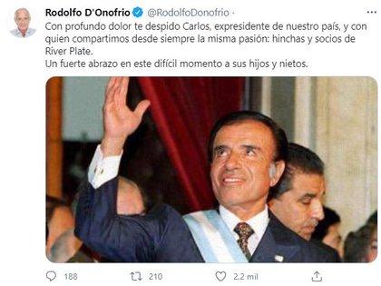 Rodolfo D'Onofrio despidió con profundo dolor a Menem, quien murió a los 90 años