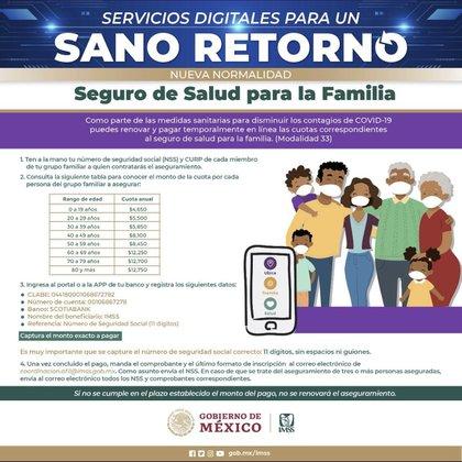 Cuotas de aseguramiento por edad del Seguro de salud para familia (Foto: Twitter@Tu_IMSS)
