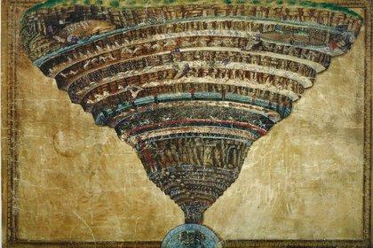 Los nueves círculos del Infierno según Sandro Botticelli en una obra realizada entre 1480 y 1490