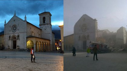 La catedral de Norcia, antes y después