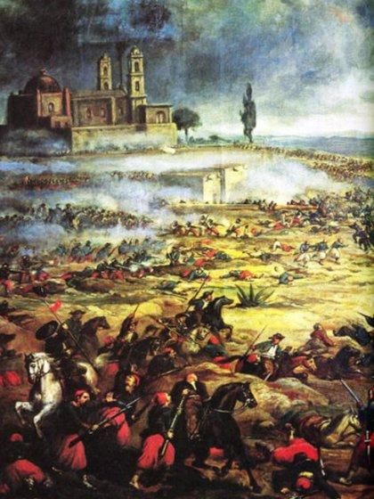 Durante horas el ejército francés trató de pasar por el Cerro de Guadalupe (Pintura Batalla de Puebla, 5 de mayo 1862. Autor anónimo, s XIX. Fuente: INEHRM)