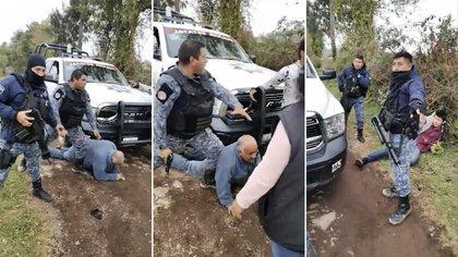 Policías de Huauchinango, Puebla, someten persona de la tercera edad (Foto: Captura de pantalla)