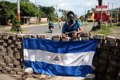 Una barricada durante la protesta contra el régimen enJinotepe(REUTERS/Oswaldo Rivas)